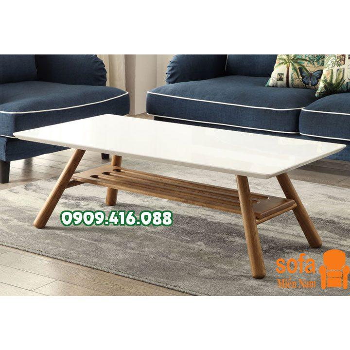 bàn trà gỗ chữ nhật 2 tầng - bs38