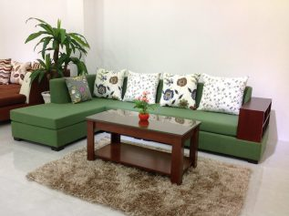 Ghế sofa vải nỉ nhập khẩu giá rẻ màu xanh lá cây nhạt mang lại cảm giác mát mẻ cho không gian tiếp khách SV004