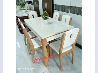 Bàn ăn mặt đá chữ nhật nhập khẩu giá rẻ BAMD003