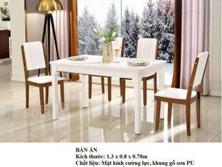 Bàn ăn mặt đá nhập khẩu khung gỗ tự nhiên giá rẻ BAMD042