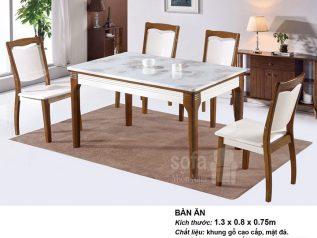 Bàn ăn mặt đá nhập khẩu khung gỗ tự nhiên giá rẻ BAMD046