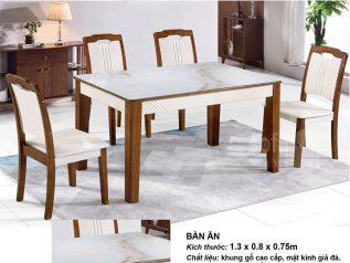 Bàn ăn mặt kính giả đá nhập khẩu khung gỗ tự nhiên cao cấp giá rẻ BAMD049