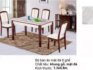 Bàn ăn mặt đá nhập khẩu khung gỗ tự nhiên cao cấp giá rẻ BAMD050
