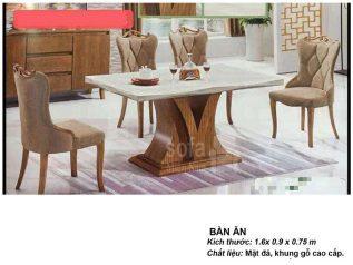 Bàn ăn mặt đá nhập khẩu khung gỗ tự nhiên cao cấp giá rẻ BAMD052
