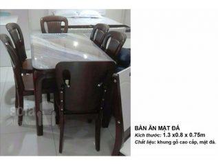 Bàn ăn mặt đá nhập khẩu khung gỗ tự nhiên cao cấp giá rẻ BAMD054