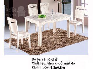 Bàn ăn mặt đá nhập khẩu khung gỗ tự nhiên giá rẻ BAMD039
