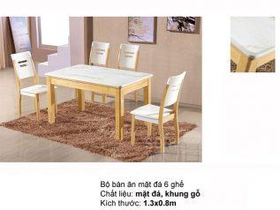 Bàn ăn mặt đá nhập khẩu khung gỗ tự nhiên giá rẻ BAMD040