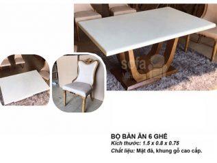 Bàn ăn mặt đá nhập khẩu khung gỗ tự nhiên cao cấp giá rẻ BAMD055