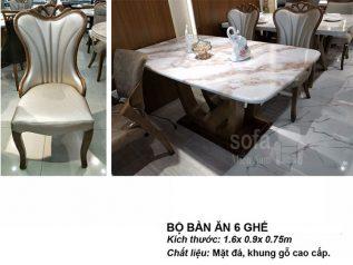 Bàn ăn mặt đá nhập khẩu khung gỗ tự nhiên giá rẻ BAMD024