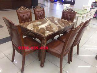 Bàn ăn mặt đá nhập khẩu giá rẻ hình chữ nhật nâu sô cô la cưc đẹp BAMD016