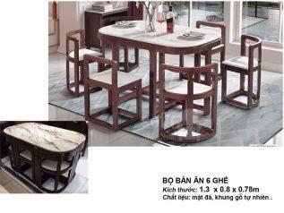 Bàn ăn mặt đá nhập khẩu khung gỗ tự nhiên giá rẻ BAMD020