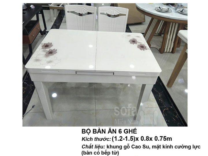Bàn ăn bếp từ mặt kính cường lực khung gỗ cao su tự nhiên giá rẻ bền đẹp BAMk007