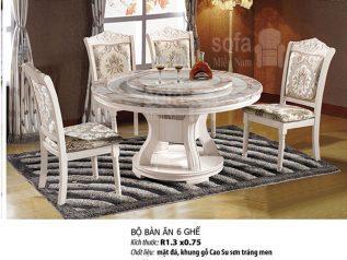 bộ bàn ăn mâm xoay mặt đá nhập khẩu giá rẻ sang trọng bamx001