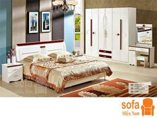 Combo giường ngủ tủ quần áo, bàn trang điểm trang trí sang trọng, mẫu mã đẹp cho phòng ngủ GT001