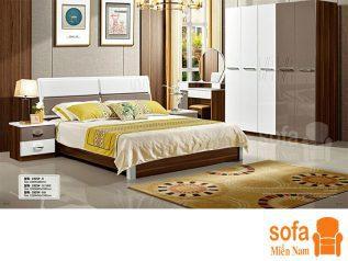 Combo giường ngủ tủ quần áo, bàn trang điểm trang trí sang trọng, mẫu mã đẹp cho phòng ngủ GT003