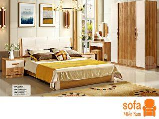 Combo giường ngủ tủ quần áo, bàn trang điểm trang trí sang trọng, mẫu mã đẹp cho phòng ngủ GT005