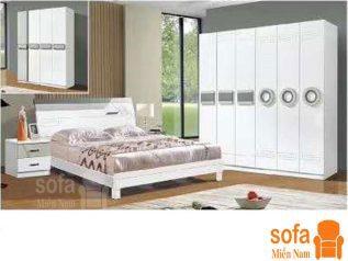 Combo giường ngủ tủ quần áo, bàn trang điểm trang trí sang trọng, mẫu mã đẹp cho phòng ngủ GT007