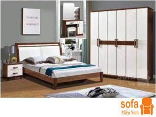 Combo giường ngủ tủ quần áo, bàn trang điểm trang trí sang trọng, mẫu mã đẹp cho phòng ngủ GT009