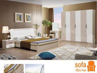 Combo giường ngủ tủ quần áo kiểu dáng hiện đại trang trí sang trọng, mẫu mã đẹp cho phòng ngủ GT010