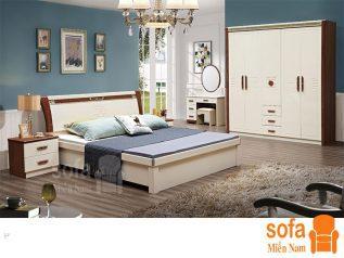 Combo giường ngủ tủ quần áo kiểu dáng hiện đại trang trí sang trọng, mẫu mã đẹp cho phòng ngủ GT012