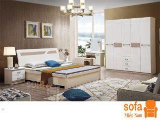Combo giường ngủ tủ quần áo kiểu dáng hiện đại trang trí sang trọng, mẫu mã đẹp cho phòng ngủ GT013