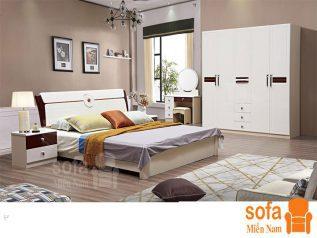 Combo giường ngủ tủ quần áo kiểu dáng hiện đại trang trí sang trọng, mẫu mã đẹp cho phòng ngủ GT014