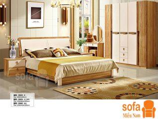Combo giường ngủ tủ quần áo kiểu dáng hiện đại trang trí sang trọng, mẫu mã đẹp cho phòng ngủ GT015