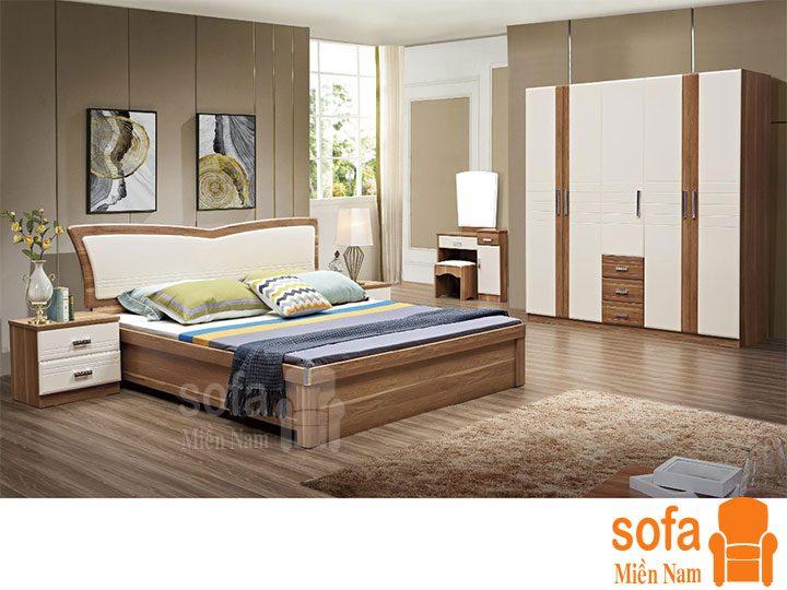 Combo giường ngủ tủ quần áo kiểu dáng hiện đại trang trí sang trọng, mẫu mã đẹp cho phòng ngủ GT023
