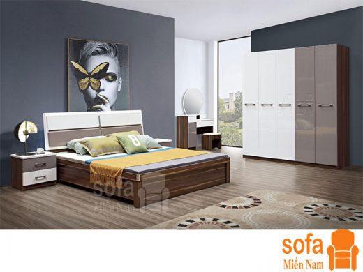 Combo giường ngủ tủ quần áo kiểu dáng hiện đại trang trí sang trọng, mẫu mã đẹp cho phòng ngủ GT024