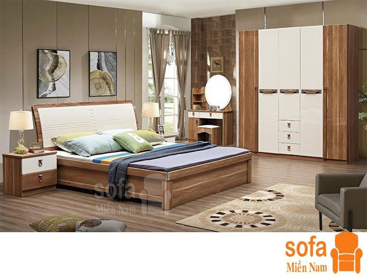 Combo giường ngủ tủ quần áo kiểu dáng hiện đại trang trí sang trọng, mẫu mã đẹp cho phòng ngủ GT025