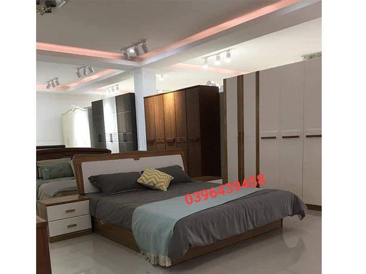 Combo giường ngủ tủ quần áo kiểu dáng hiện đại trang trí sang trọng, mẫu mã đẹp cho phòng ngủ GT026