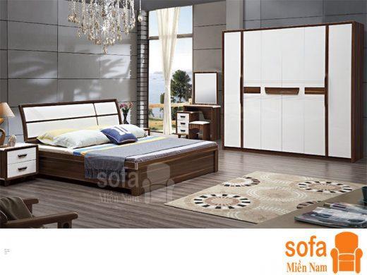 Combo giường ngủ tủ quần áo kiểu dáng hiện đại trang trí sang trọng, mẫu mã đẹp cho phòng ngủ GT027