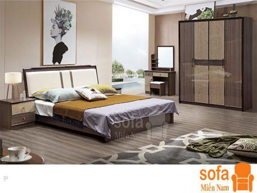 Combo giường ngủ tủ quần áo kiểu dáng hiện đại trang trí sang trọng, mẫu mã đẹp cho phòng ngủ GT028