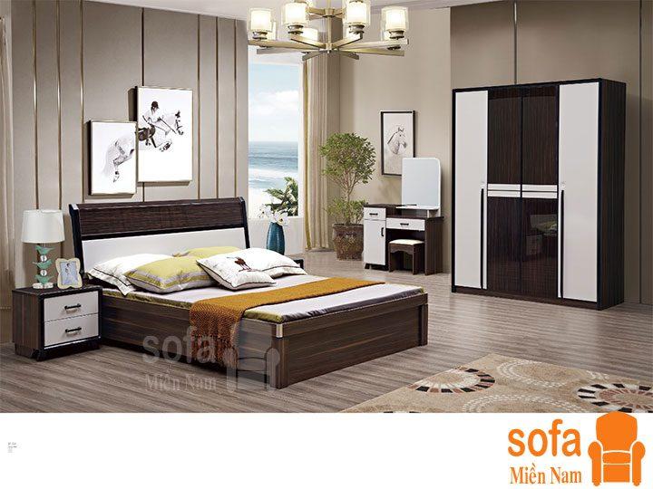 Combo giường ngủ tủ quần áo kiểu dáng hiện đại trang trí sang trọng, mẫu mã đẹp cho phòng ngủ GT029