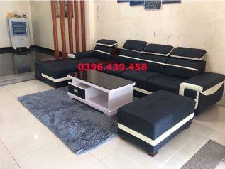 ghế sofa da hàn quốc nhập khẩu giá rẻ xanh dương viền trắng bản to đầu gật gù có giường nằm rộng rãi tiện nghi sd0157