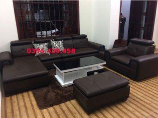ghế sofa da nhập khẩu giá rẻ màu nâu góc L có giường nằm sd0134