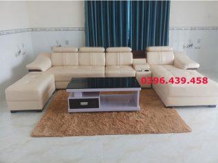 ghế sofa da nhập khẩu giá rẻ màu trắng sữa góc chữ L sang trọng nhiều chỗ ngồi sd0138