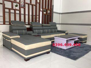 ghế sofa da nhập khẩu giá rẻ màu xám viền trắng bản to nổi bật dạng góc chữ L sd0153