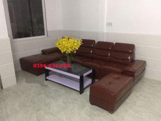 ghế sofa da nhập khẩu giá rẻ màu nâu sô cô la dạng góc L tiết kiệm diện tích nhiều chỗ ngồi sd0154