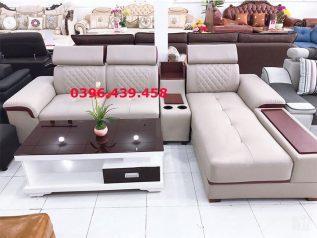 ghế sofa da cao cấp nhập khẩu giá rẻ góc chữ L kết hợp giường nằm rộng rãi tiện nghi sd0155
