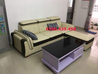 ghế sofa da cao cấp nhập khẩu giá rẻ màu vàng tranh viền đen sang trọng nhỏ gọn sd0156
