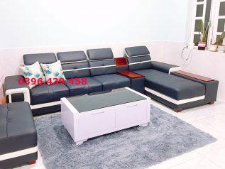 ghế sofa da nhập khẩu giá rẻ màu xanh dương viền trắng tuyệt đẹp góc chữ L cho nhiều chỗ ngồisd0157