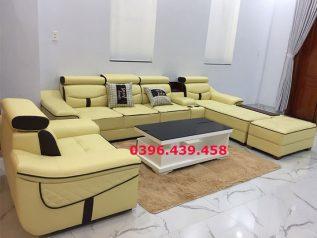 ghế sofa da nhập khẩu giá rẻ màu vàng tranh viền đen tuyệt đẹp có thêm ghế đơn xếp thành chữ U bề thế sd0158