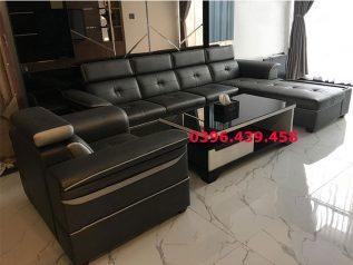 ghế sofa da nhập khẩu giá rẻ góc chữ L hiện đại nhiều chỗ ngồi có giường nằm sd0159