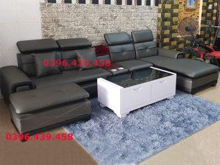 ghế sofa da nhập khẩu giá rẻ màu nâu viền đen góc chữ L có giường thư giãn sd0160