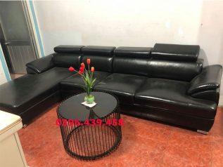 ghế sofa da nhập khẩu giá rẻ góc L có nhiều chỗ ngồi nhỏ gọn cho nhà nhỏ sd0162
