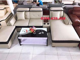 ghế sofa da nhập khẩu giá rẻ trắng sữa viền đen đẹp mắt nhiều chỗ ngồi có giường nằm và khay để đồ sd0163