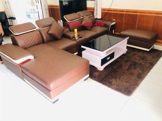 ghế sofa da nhập khẩu giá rẻ màu nâu sô cô la viền trắng nhat góc L sd0164