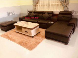 ghế sofa da nhập khẩu giá rẻ góc L tiết kiệm diện tích nhiều chỗ ngồi màu nâu sang trọng sd0165