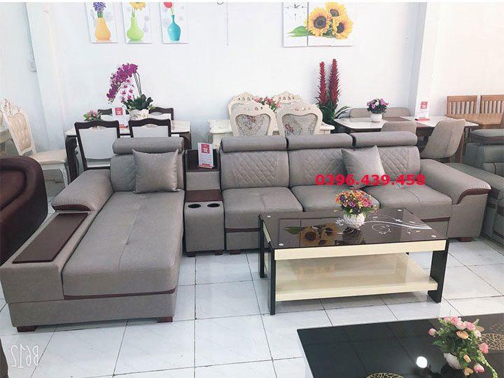 ghế sofa da nhập khẩu giá rẻ góc chữ L nhiều chỗ ngồi đầu bật gật gù có giường nằm màu xám sd0166